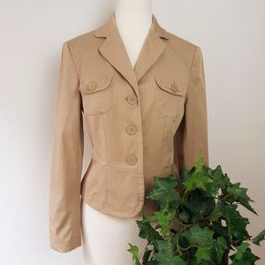 LOFT Military Style Tan Fitted 3 Button Blazer